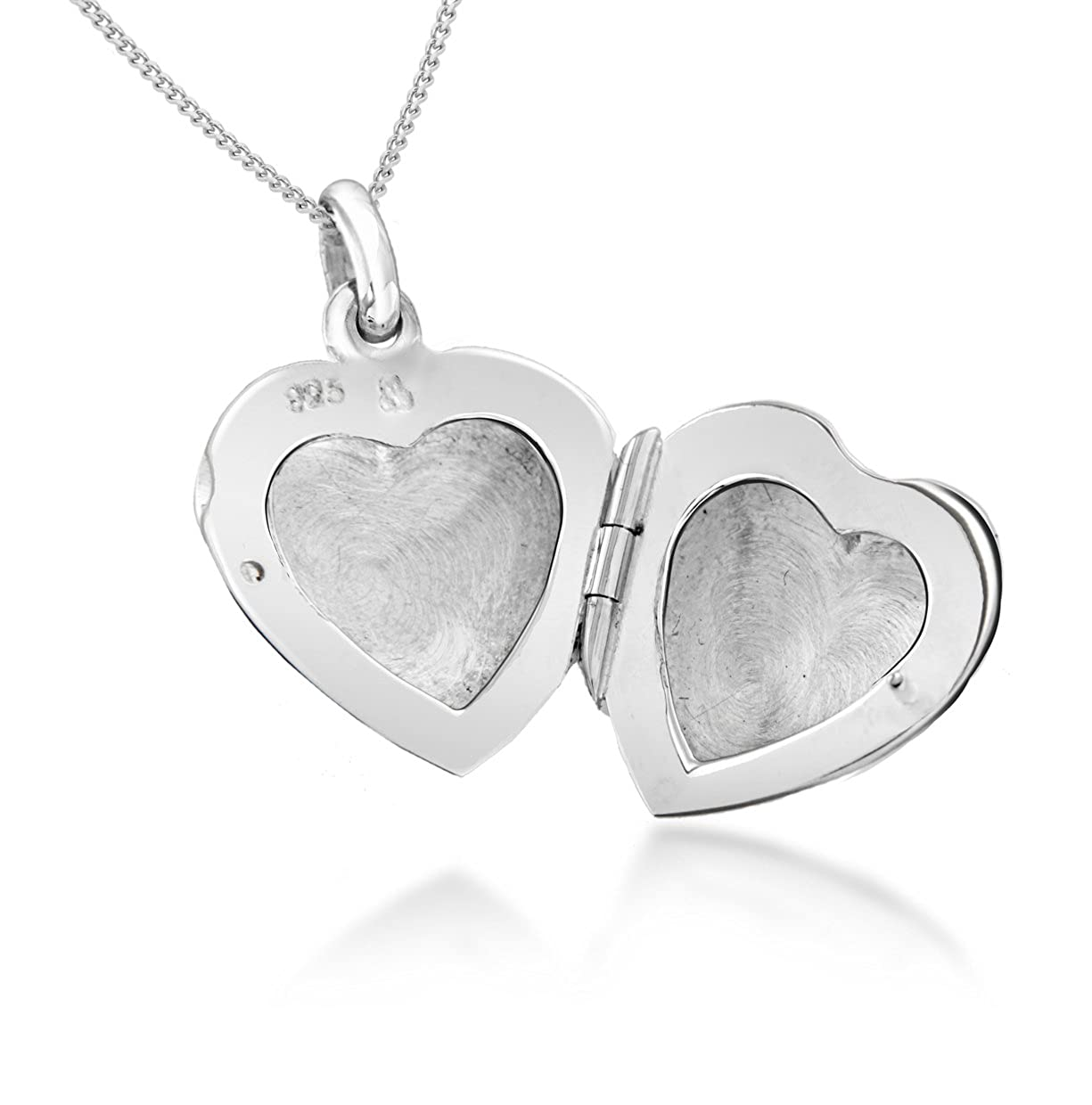 "Tuscany Silver Sterling Silver Heart Locket Pendant on Curb Chain of 46cm/18"" 8.43.5224 8.43.5224_Silver-46cm"