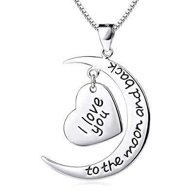 Amazon yfn sterling silver i love you to the moon and back yfn sterling silver i love you to the moon and back heart charm pendant necklace 20quot mozeypictures Choice Image