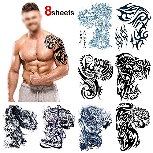 Konsait Large Temporary Tattoos Half Arm Chest Tattoo Men Tribal Totem Tattoo Make up Body Art Sticker for Halloween Party Supplies Beach Pool Party Favor Decor Dress up Costume Accessories(8Sheets) -