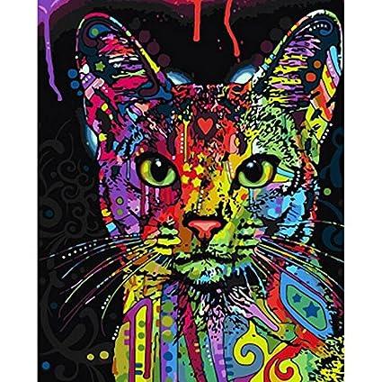 Kit de pintura por número, Diy pintura al óleo dibujo Colorido lienzo de gato con