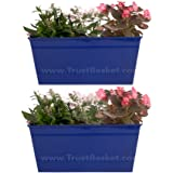 TrustBasketSet of 2 - Rectangular Railing Planter - Dark Blue (12 Inch)