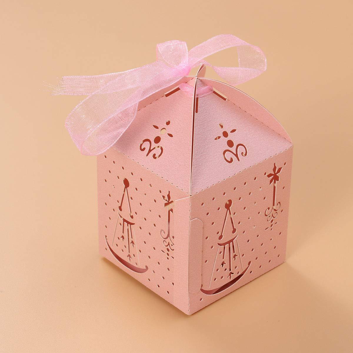 YeahiBaby Cajas de Caramelos Bombones Dulce Chocolate de Papel Cajas de Regalo para Fiesta Boda Decoraciones del Regalo de Cumpleaños Laser 50 Piezas Rosa: ...
