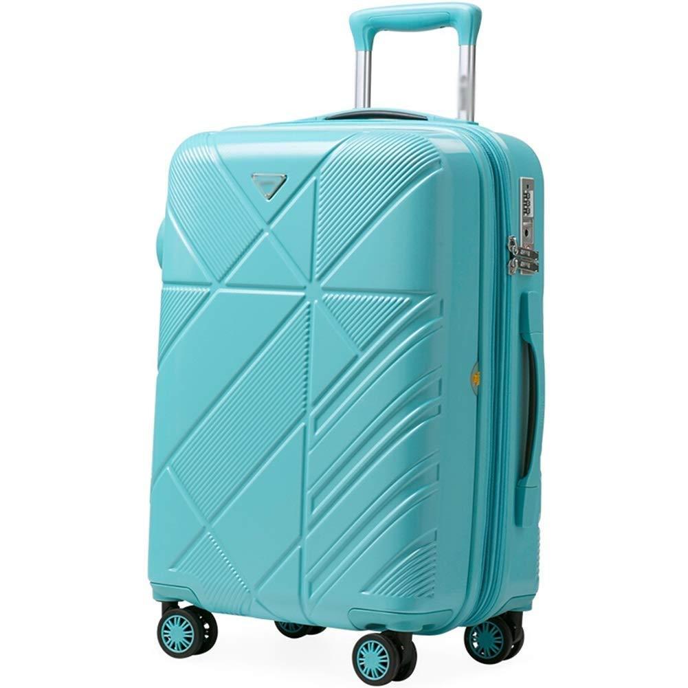 HEMFV パーソナリティファッション24インチトロリーケース、ユニバーサルホイールPC素材拡張可能な傷防止スーツケース (色 : 青) B07R8PTNNQ 青