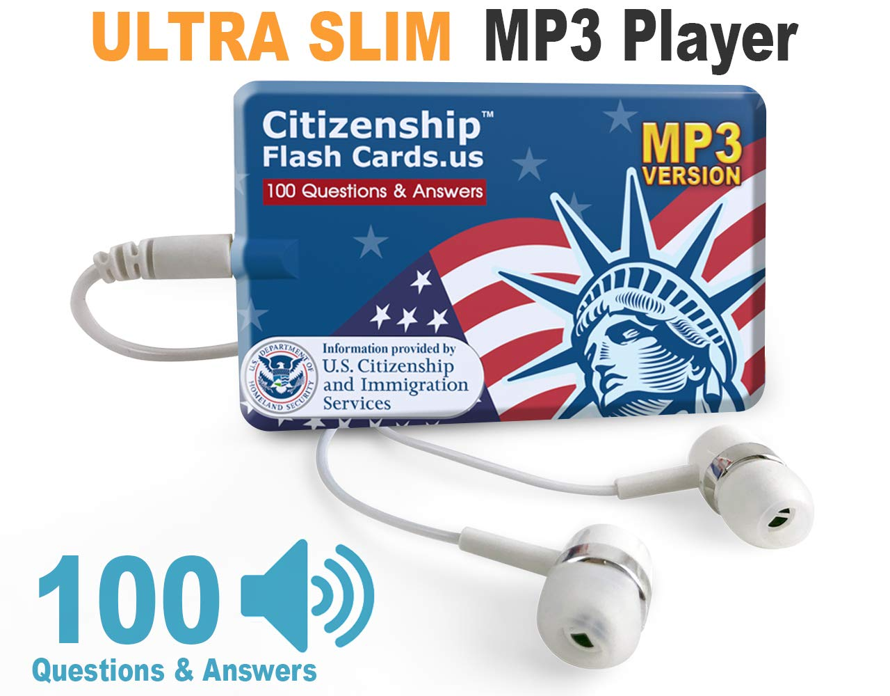 US Citizenship Test Civics Flash Cards for The Naturalization Exam 2019 | Includes MP3 Player with All Official 100 USCIS Questions and Answers | USCIS N-400. Get Ready for The Immigration Test.