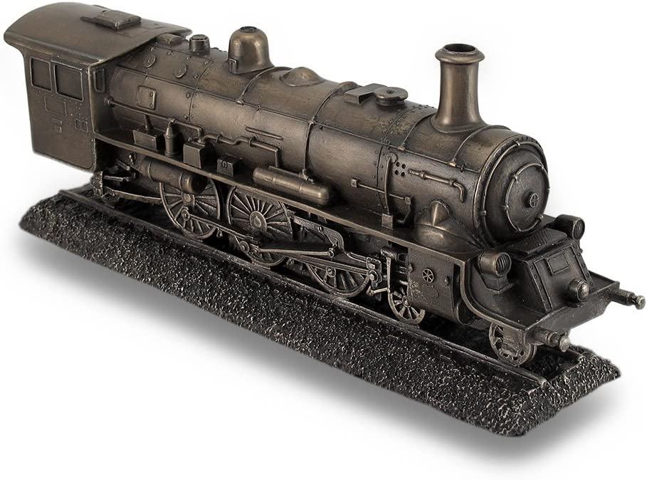 Resin Statues Bronze Finish Steam Locomotive Engine Statue Incredibly Detailed Train 10.5 X 4.5 X 2.5 Inches Bronze