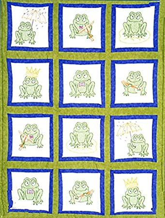 Jack Dempsey 737 527 737 527 Pre-Cut Quilt Squares Themed Stamped White Blocks 9-Inch X 9-Inch 12/Package-Frogs 302342