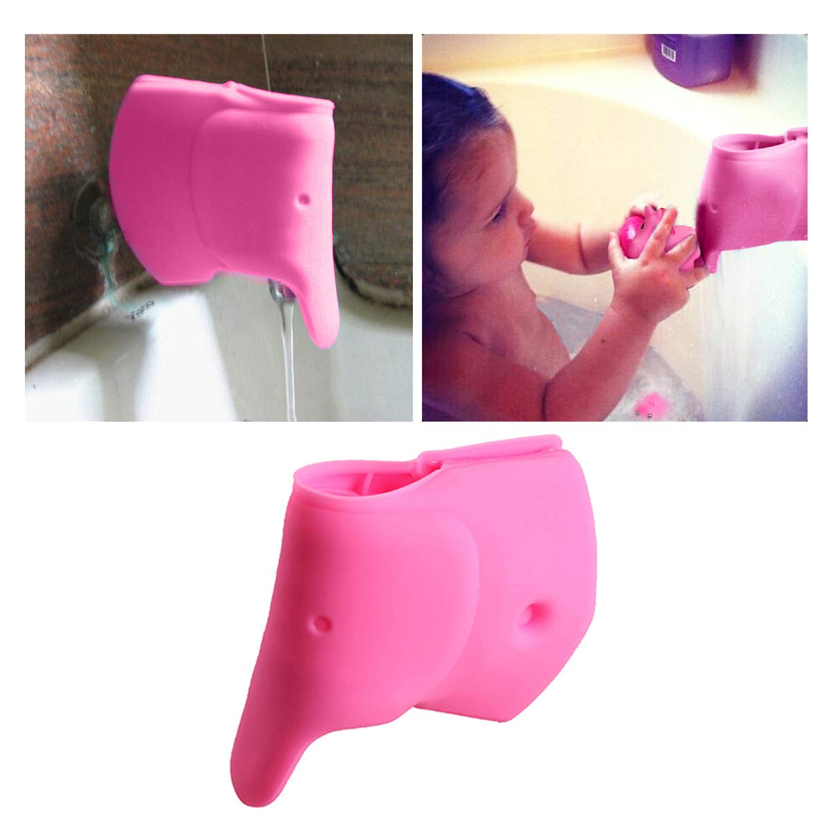 Tub Faucet Cover for Baby - Bathtub Spout Cover for Kids - Bath Faucet Extender for Babies - Child Bathroom Accessories Faucet Protector - Soft Silicone Spout Cover Pink Sea Lions iHG