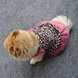 Cute Puppy Dress,Summer leopard print Small Dog skirt -Cat Lace Clothes -Pet sleeveless shirt -Fashion girl boy dress for large pets Chihuahua (S)