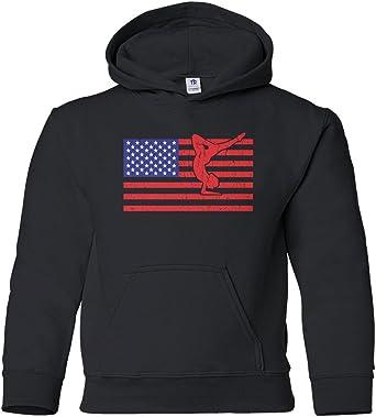 Threadrock Women/'s American Flag Gymnast Hoodie Sweatshirt USA Gymnastics