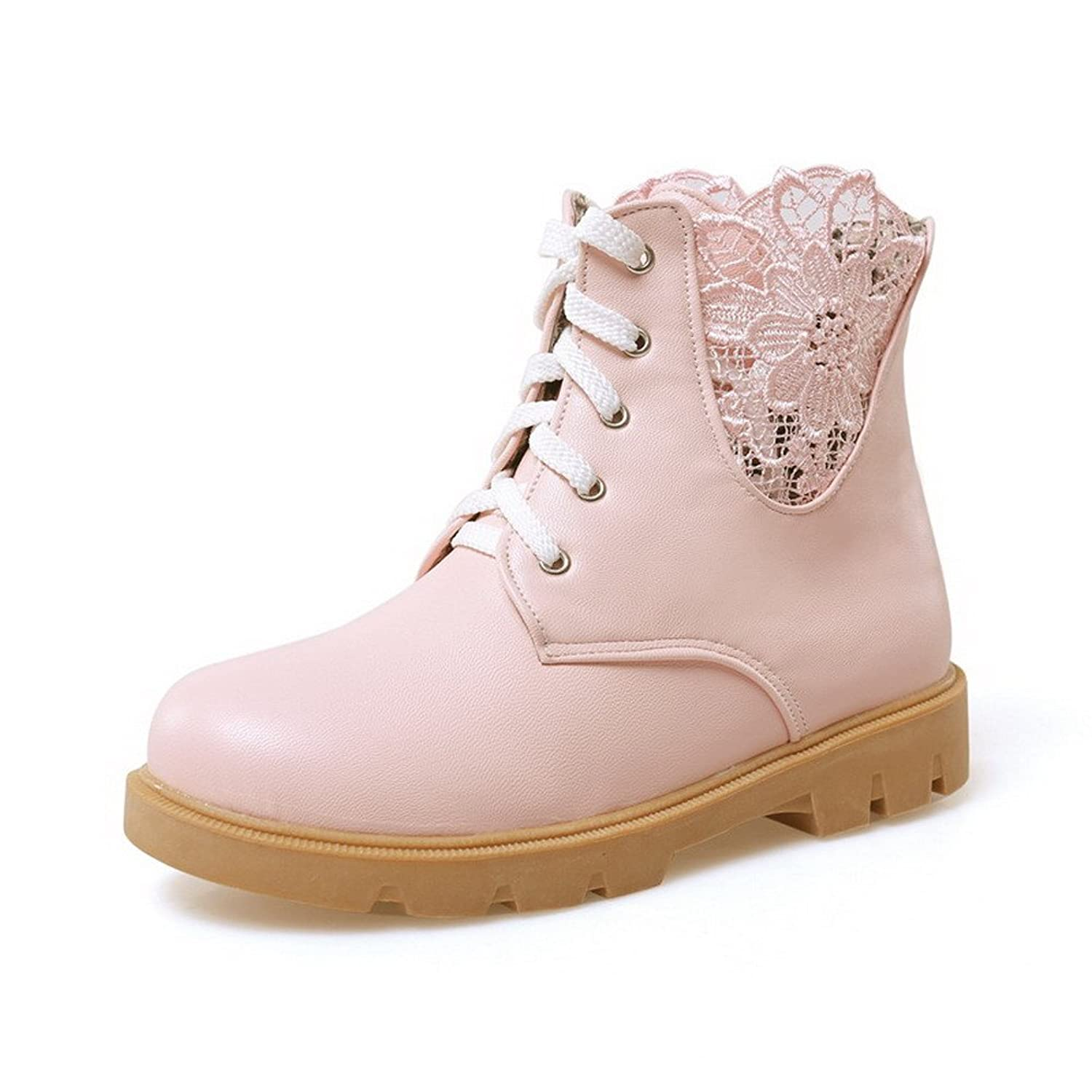 VogueZone009 Women's Pu Low Heels Closed Round Toe Solid Lace Up Boots