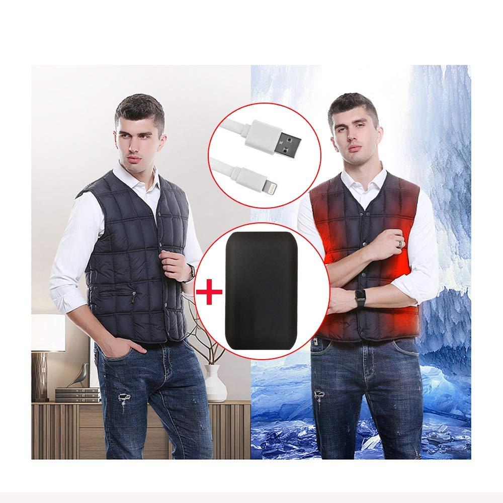 LH Beheizter Weste, sicherheitsintelligenter konstanter Temperaturheizungsanzug, 3 Modi USB-Schnittstelle Sicherheitsmaterial (Include A Power Bank),XL