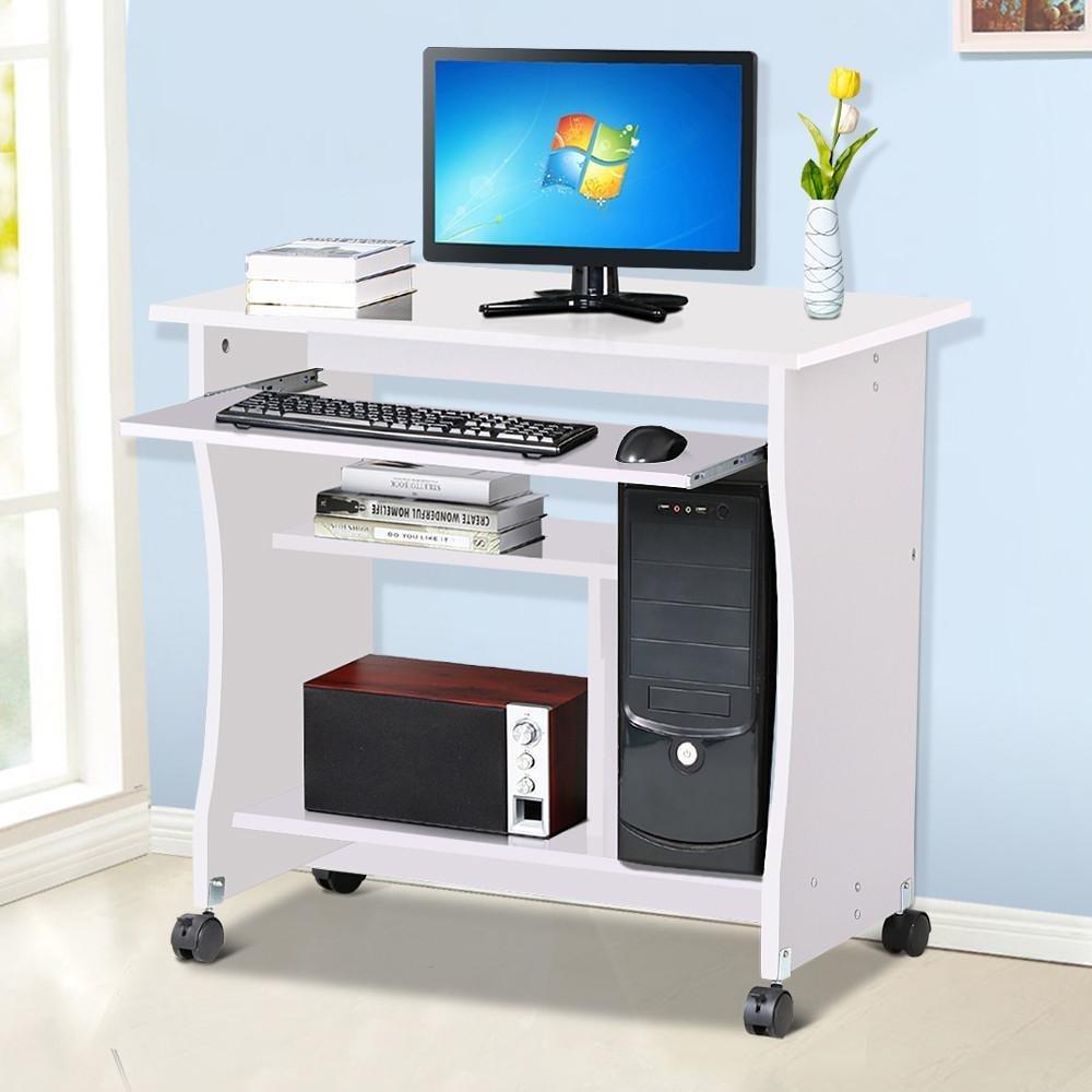 - Popamazing Wood Small Computer Desk Trolley Cart PC Laptop