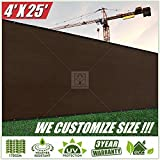 ColourTree 4' x 25' Fence Privacy Screen Windscreen Cover Fabric Shade Tarp Plant Greenhouse Netting Mesh Cloth Brown - Commercial Grade 170 GSM - Heavy Duty - 3 Years Warranty - CUSTOM
