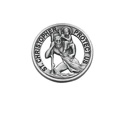 Round St. Saint Christopher Medal Pendant Cut Visor Clip Visor Clips: Jewelry
