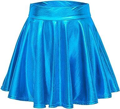 ALISIAM Vestido Moda Mujer Minifalda de Pliegue de Metal Falda ...