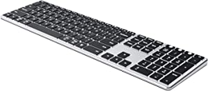 Backlit Bluetooth Keyboard, Jelly Comb Multi Device Ultra Slim Rechargeable Keyboard Wireless Illuminated Keyboard Switch to 3 Devices for iPad, iPhone, iOS, Mac OS, Windows, Android K62B-3 (Silver)