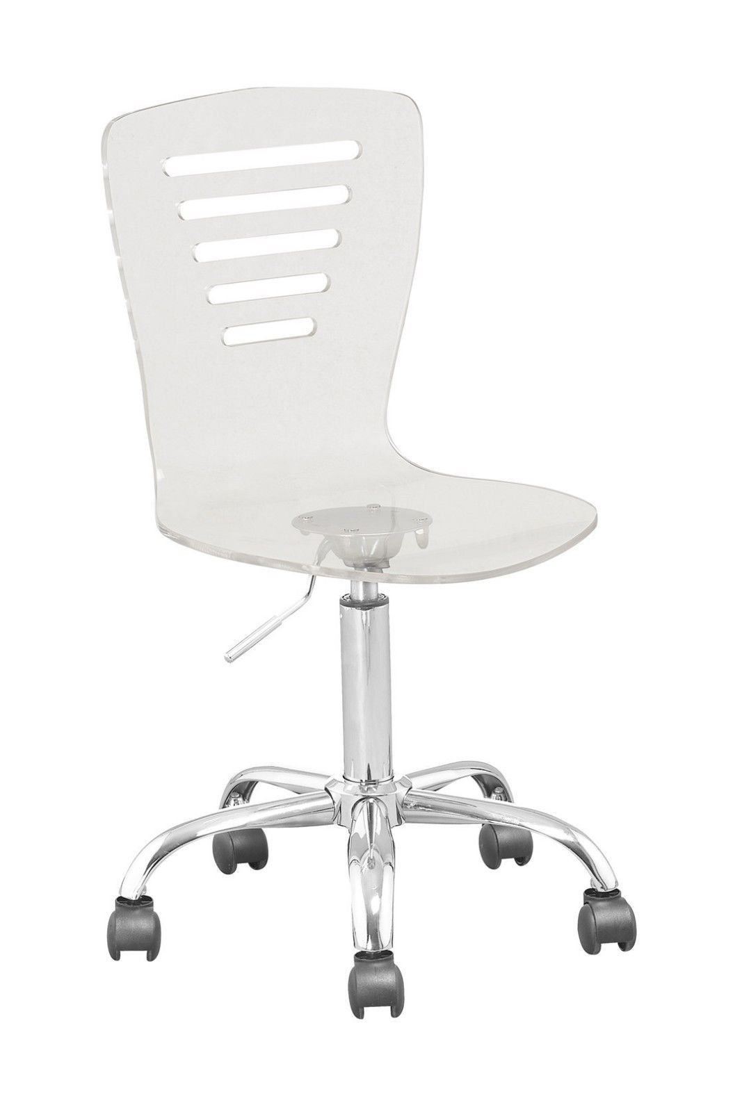 Retro Acrylic Hydraulic Lift Adjustable Height Swivel Office Desk Chair Clear (7012) Made By jersey seating®