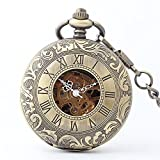 Zxcvlina Classic Smooth Retro Bronze Pocket Watch Unisex Carved Mechanical Pocket Watch with Chain for Gift Suitable for Gift Giving