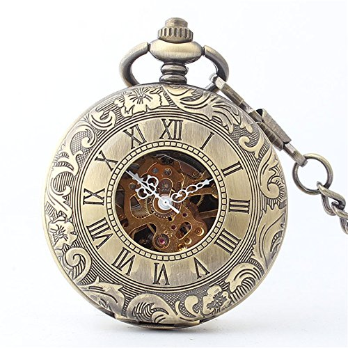 Zxcvlina Classic Smooth Retro Bronze Pocket Watch Unisex Carved Mechanical Pocket Watch with Chain for Gift Suitable for Gift Giving by Zxcvlina