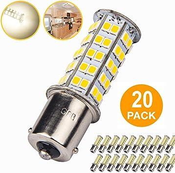 5 x Super Bright 1141 Interior Light Bulbs BA15S 1156 80 SMD LED 1003 900 Lumens RV Camper Trailer Turn Signal Backup Reverse,Warm White