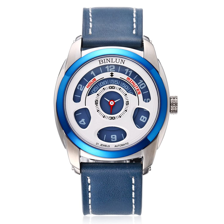 BINLUN Herren Automatik Mechanisch Einzigartig Cool Armbanduhr Wasserdicht mit Lederband