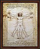 The Vitruvian Man by Leonardo da Vinci. Framed Art Print Poster. Custom Made Real Wood Dark Walnut with Black Trim Frame (18 1/4 x 22 1/4)