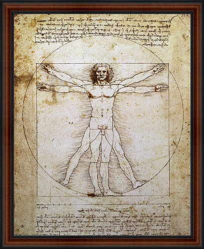 - The Vitruvian Man by Leonardo da Vinci Framed Art Print Poster Custom Made Real Wood Dark Walnut with Black Trim Frame (18 1/4 x 22 1/4)