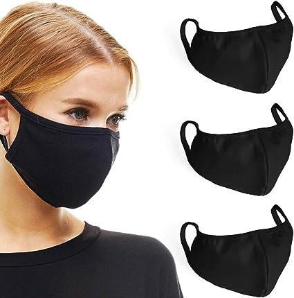 3 Cotton Black Washable Elaborate Production Unisex Massk