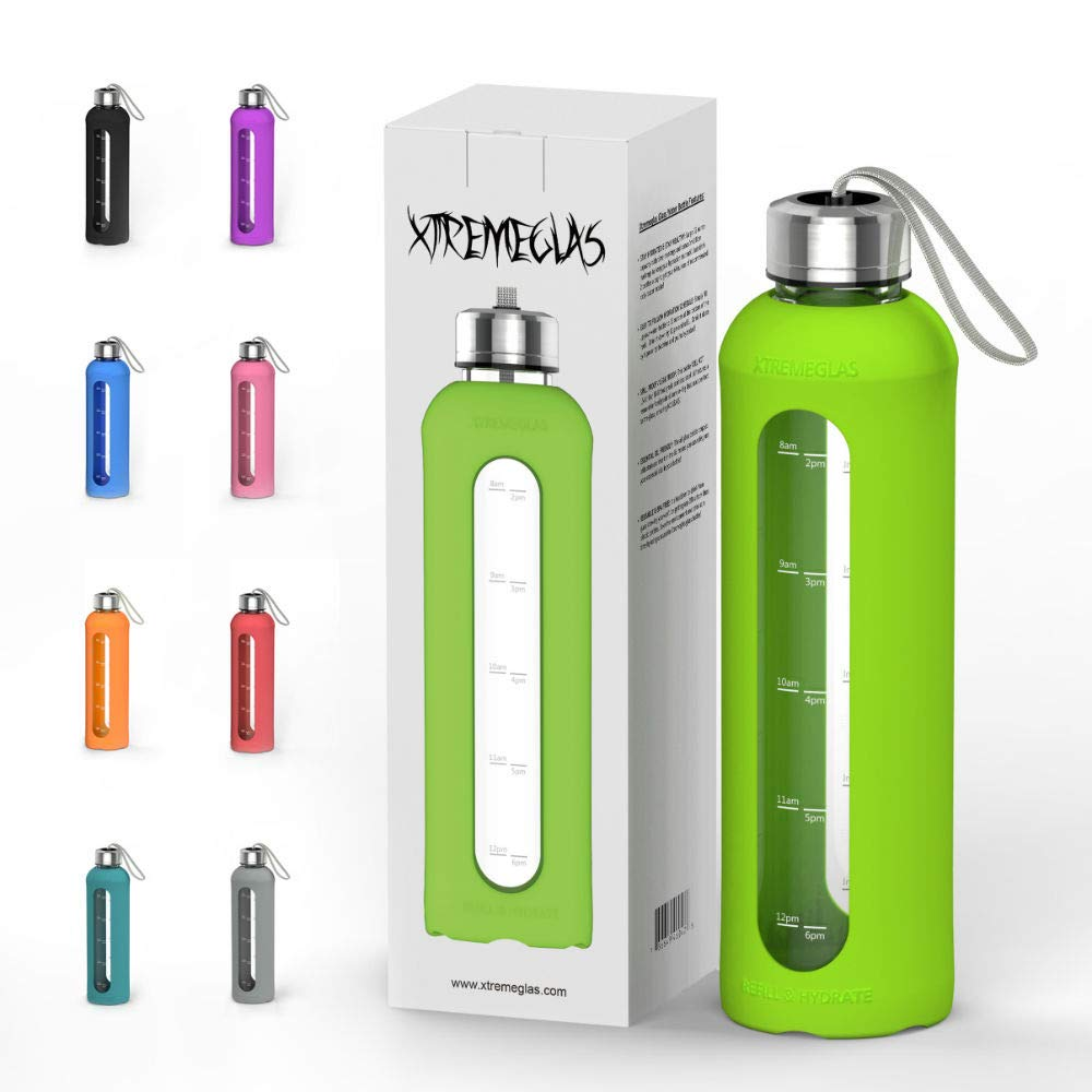 32 Oz Glass Water Bottle With Silicone Sleeve Leak Proof Lid 1L Time Marked Measurements BPA-Free For To-Go Travel At Home Reusable Eco Friendly Safe For Hot Liquids Tea Coffee Daily Intake (Green)