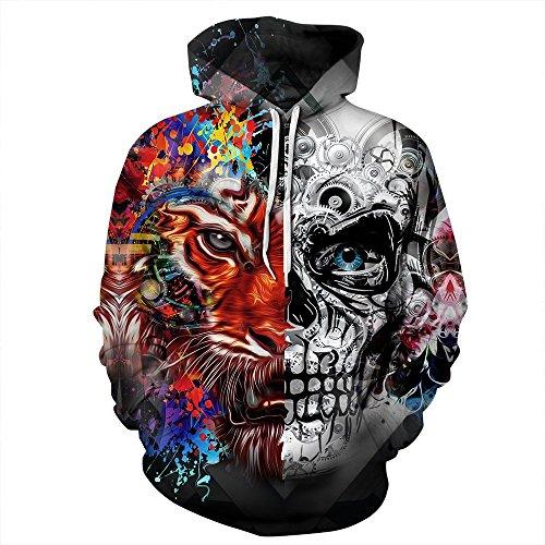 (OWMMIZ Womens Mens 3D Printed Athletic Hoodies Sweatshirts Pullover Hooded Shirts Pocket (XXL/XXXL, Mechanical Tiger))