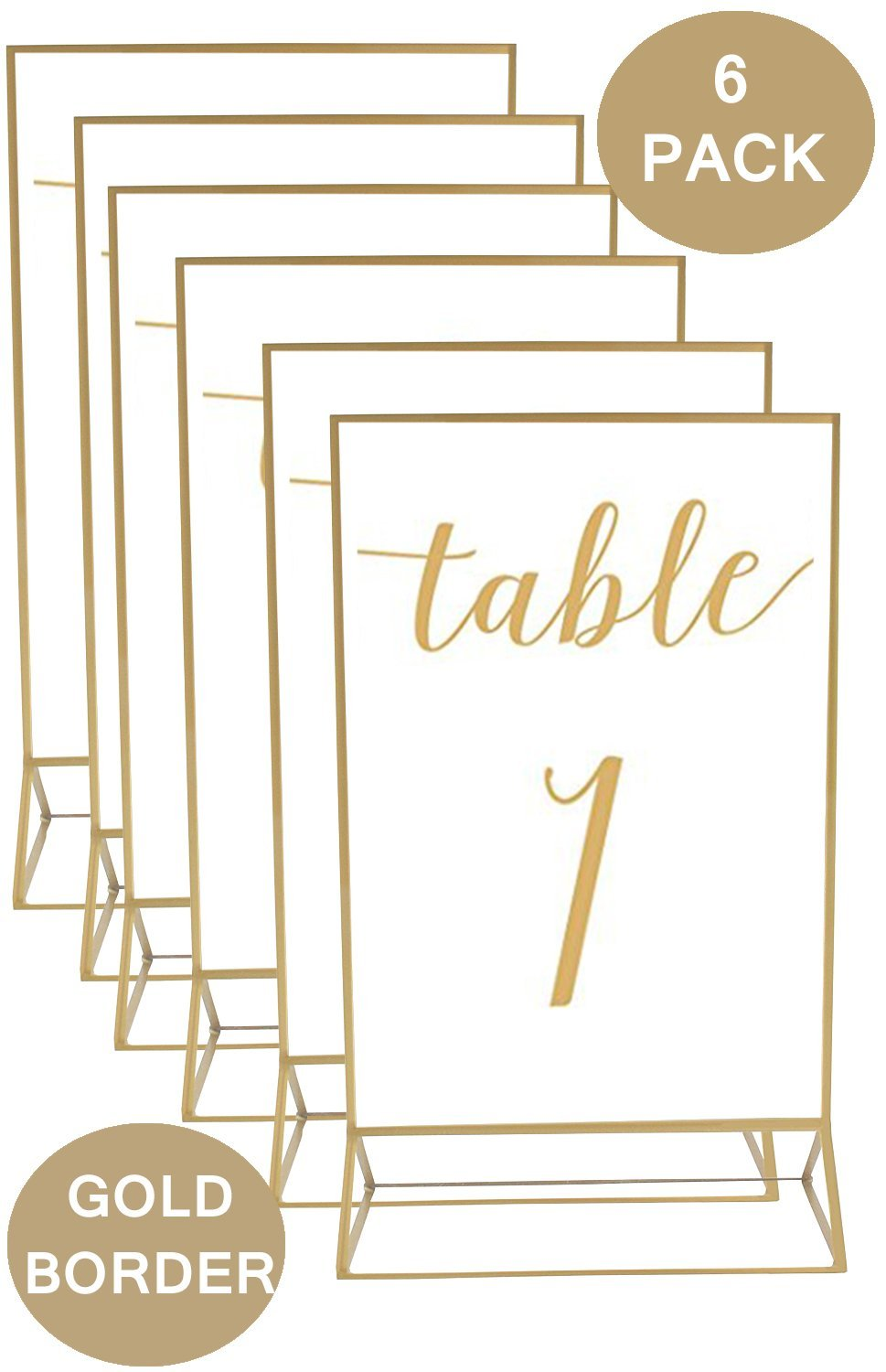 Gold-Accented 5x7 Inch Acrylic Photo Double-Sided Frames | Perfect for Weddings, Offices, Restaurants, Businesses, Anniversaries, Graduations, Special Events & Trips | More Durable Than Glass | 6 Pack