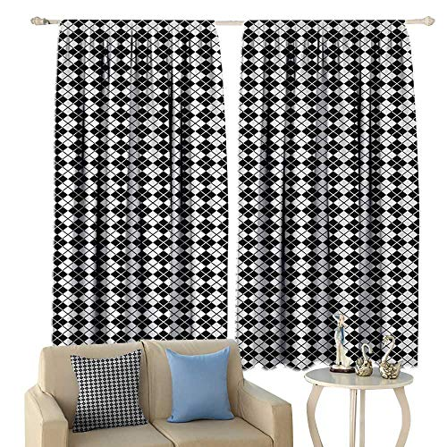 (HoBeauty Plaid, Room Darkening Wide Curtains, Modern Graphic Argyle Pattern in Black and White Repetitive Diamond Shape Stripes, Decor Curtains by,(W72 x L45 Inch, Black White)