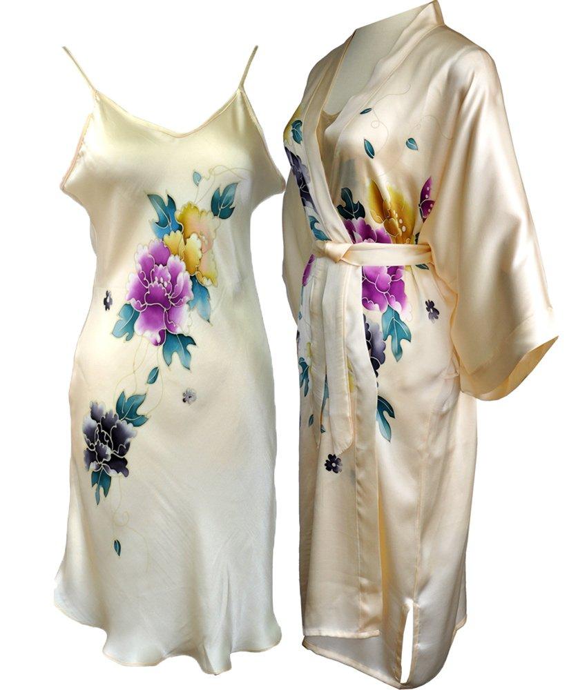 Amazing Grace Hand Painted Silk Kimono & Chemise Sleepwear Pajama Set (Creamy Floral Set)