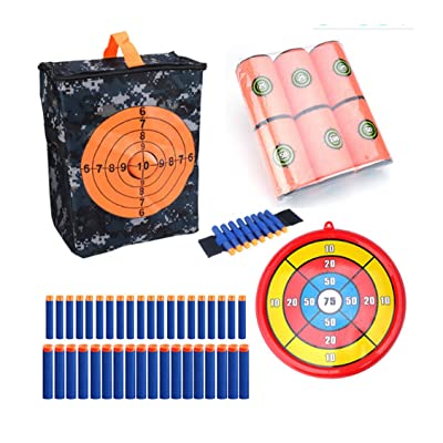 Gun Storage Bag,Target Pouch Storage Bag,Target Shooting Pouch Soft Bullets Wrist Band Foam Can Target Bullet Clip Round Target Kit for Nerf Gun Games (Combo 2): Sports & Outdoors
