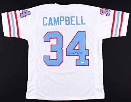 promo code edebb acc6b Earl Campbell Autographed White Houston Oilers Jersey - Hand ...