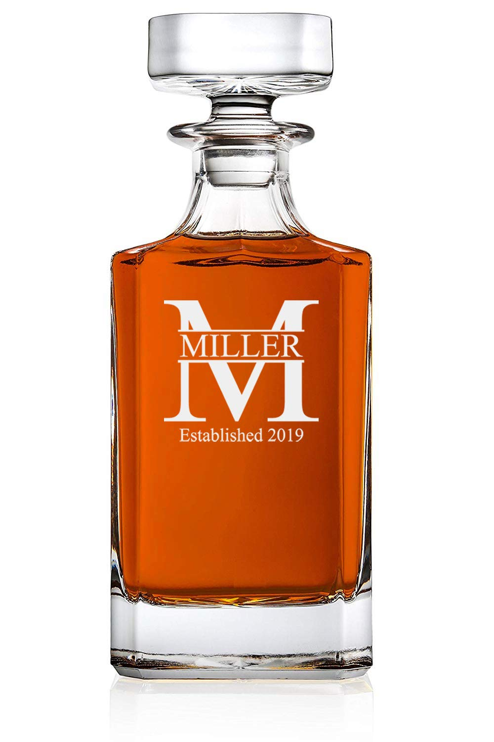 Personalized Whiskey Decanter - Glass Decanter - Groomsmen Gift - A Personalized Gift, Great Groomsmen Gift, Best Man Gift (Miller Design)