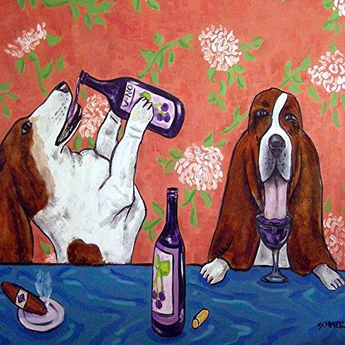 Basset Hound Art Dog Wine Tile Coaster Decoration