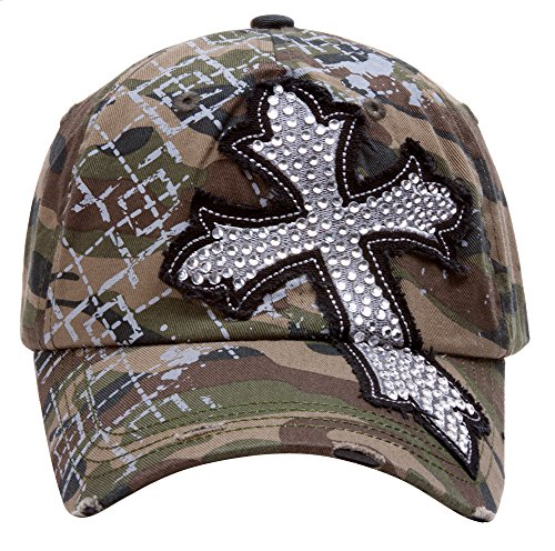 Ladies Camo Cap - TopHeadwear Beaded Cross Distressed Adjustable Baseball Cap - Camo