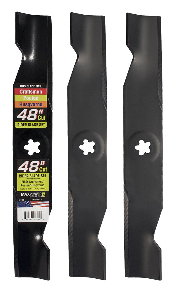 Maxpower 561735 3-Blade Set for 48'' Cut Poulan/Husqvarna/Craftsman Replaces 173920, 180054, 532180054, 532173920 by Maxpower