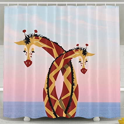 Genial Love Giraffe Bathroom Shower Curtain, Waterproof Bath Decorations Bathroom  Decor Sets With Hooks   Unique
