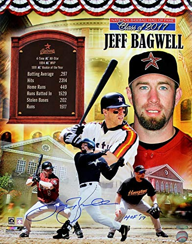 Signed 16x20 Hall Of Fame - Jeff Bagwell Signed 16X20 Picture Hall Of Fame Tribute Collage Inscribed HOF '17