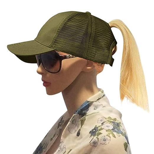 Ponytail Messy Buns Cotton Mesh Trucker Ponycaps Snapback Hat Hip-Hop  Adjustable Hat Plain Baseball Cap a9518c9e5b6e