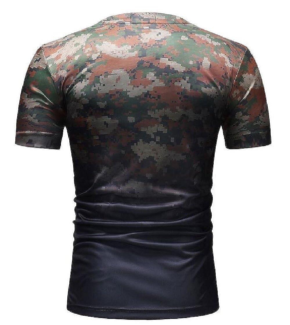 Gocgt Mens Top Causal Short Sleeve Camouflage Round Neck T-Shirt Top