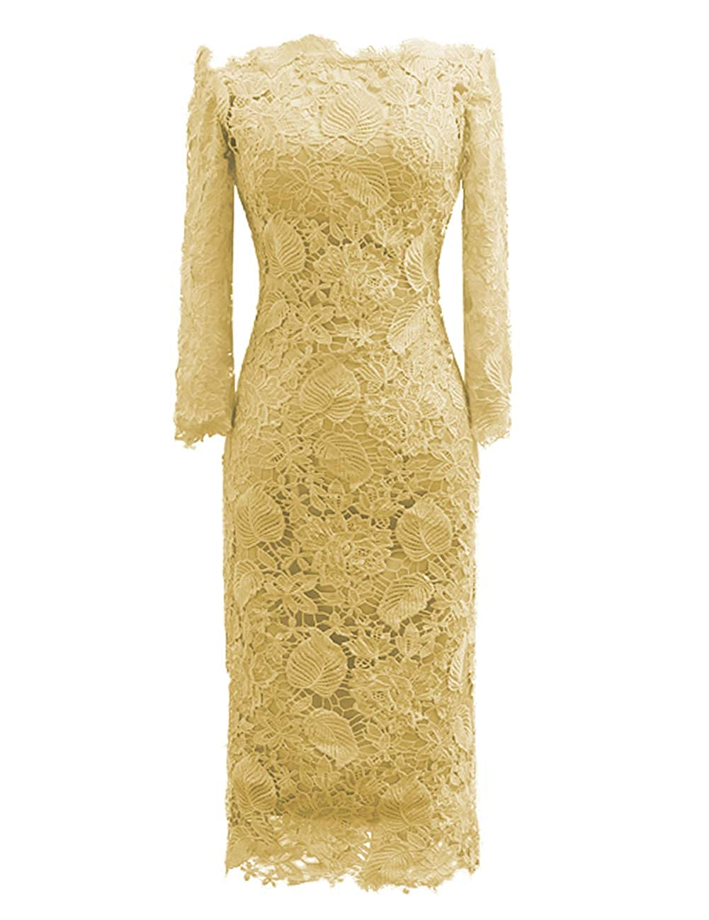 gold JAEDEN Mother of The Bride Dresses with Long Sleeves Lace Formal Evening Gowns Mermaid Evening Dresses Off The Shoulder
