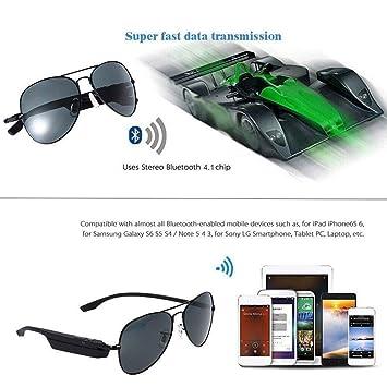 DMA - Gafas de sol inalámbricas estéreo Bluetooth Ultra K3-A V4.1 Pilot
