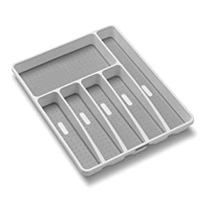 madesmart Classic Large Silverware Tray - White | CLASSIC COLLECTION | 6-Compartments |Soft-grip Lining and Non-slip Feet |BPA-Free