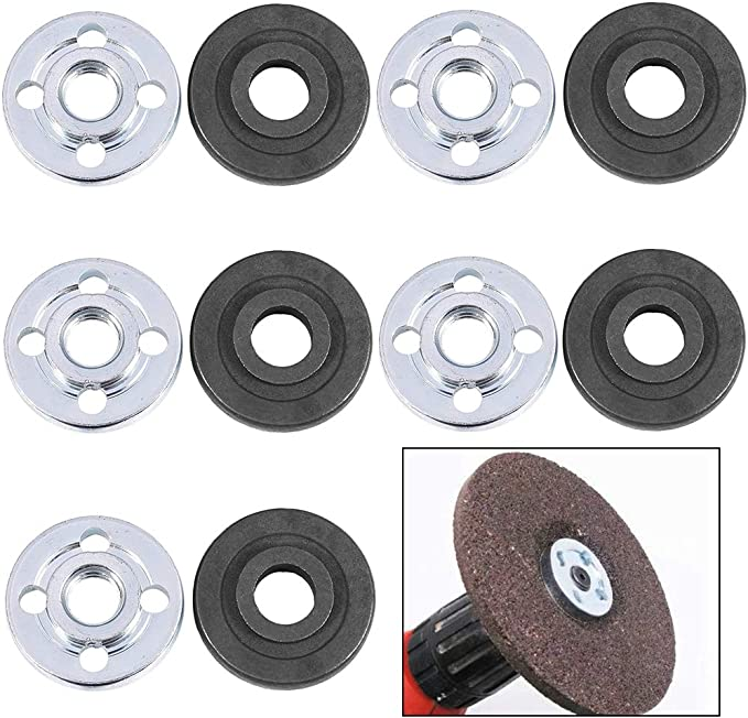 Electrical Angle Grinders Accessories 3 x 1 x 1cm Silver and Black BETOY 5 Pair Angle Grinder Replacement Part Robust and Durable Inner Outer Flange Nuts for Makita 9523