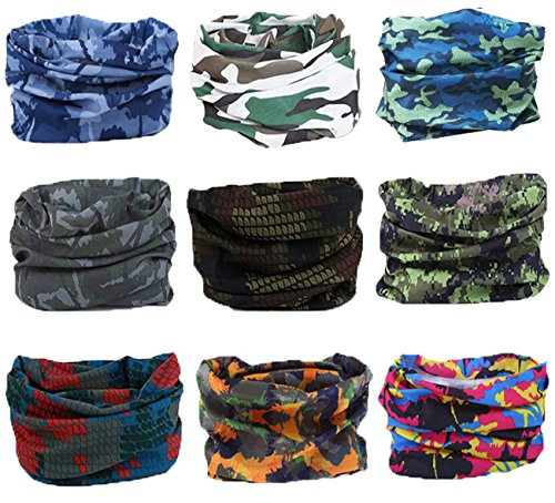 KINGREE 9PCS Headbands, Outdoor Multifunctional Headwear, Sports Magic Scarf, High Elastic Headband with UV Resistance, Athletic Headwrap, Mens Sweatband, Womens Hairband (Army&Camouflage)