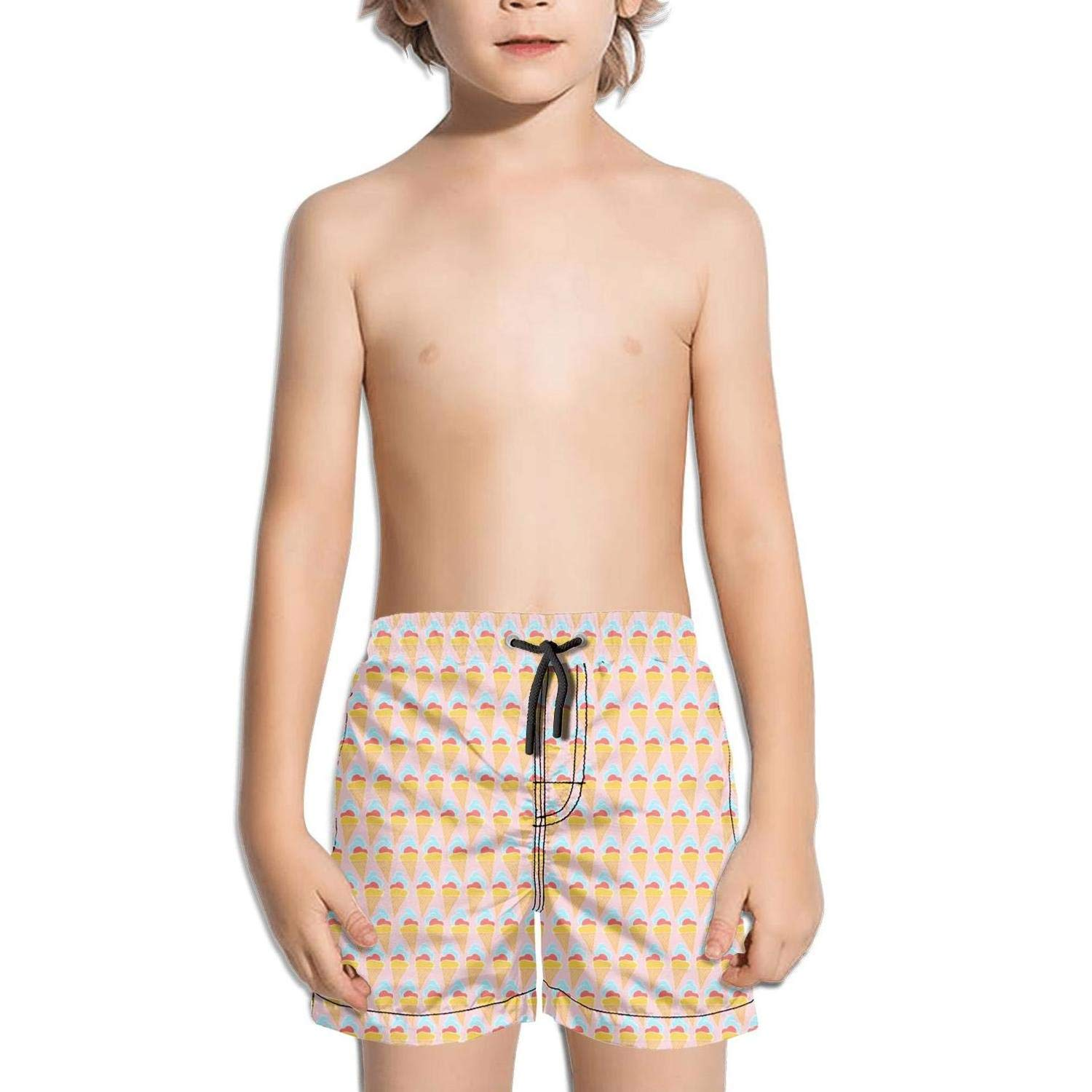 Ina Fers.Quick Dry Swim Trunks Love Ice Cream Gifts Summer Time Pink Shorts for Boys