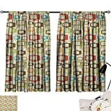 Kitchen Curtains Vintage,Old Televisions Pattern in Retro Colors Antenna Electronics Entertainment Nostalgic, Multicolor 72'x96',Blackout Curtains 2 Panels Set Room